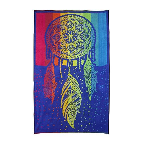 Dhestia Home DHestia, Toalla de Playa Grande de Algodón 100x170 cm, Diseño Atrapasueños - Dreamcather, 100 x 170 cm