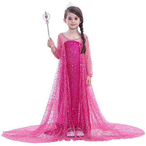 en Kostüm Prinzessin ELSA Kleid Blau mit Umhang Kinder Karneval Kostüm Weihnachten Party Verkleidung Eiskönigin Kostüm Glitzer Cosplay Kleid Pink Festlich Pailletten ()