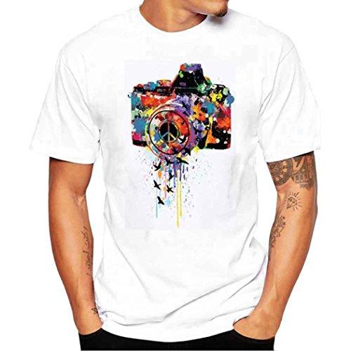 Elecenty Herren Blusentop Herrenhemden T-shirt Poloshirt,Kurzarmshirt Pullover Bluse Tee T-Stücke Kamera Drucken Männer Sommerhemd Tops Blusen Sweatshirt Hemd Pulli (4XL, Weiß)
