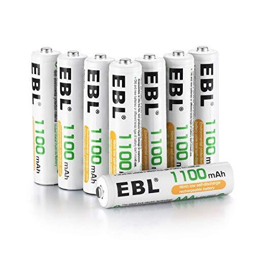 EBL 1100mAh AAA Ni-MH 1200 Ciclo de Pilas Recargables para los Equipos Domésticos con Estuches de Almacenamiento (8...