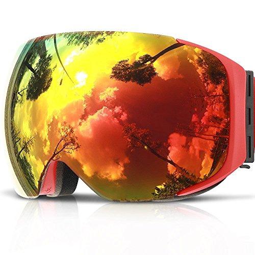 Masque Lunette de Ski Snowboard , COPOZZ G2 Lunettes Jet Pour Homme Femme Adulte Adolescent , Aimant Rapide Echange de Lentilles , Sphérique Sans Cadre UV400 Anti-Buée OTG Casque Compatible