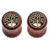 PiercingJ 2PCS Boucles d'oreilles Arbre de Vie Creux Bois Sono Bambou Taper Tambour Ecarteur Expandeur Tunnel Flesh Plug Unisexe 8mm