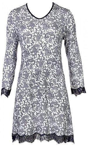 Nina von C. Damen Nachtkleid Nachthemd Spitze romantischer All - Over Druck Paisley, Grösse:M - 38, Farbe:Off White -
