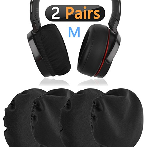 Stretchable Fabric Headphone Earpad Covers/Washable Sanitary Earcup Protectors, Fits 3.14' - 5.11' (8cm - 13cm Ear Pad) Over-Ear Headset Ear Cushions / 4 pcs (2 Pairs) Black