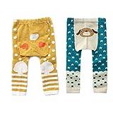 FYGOOD 2er Set Baby Jungen Mädchen Strumpfhose, Kinder Strumpfhose Gelb-Blau M(2-4 Jahre/Länge: 48cm)