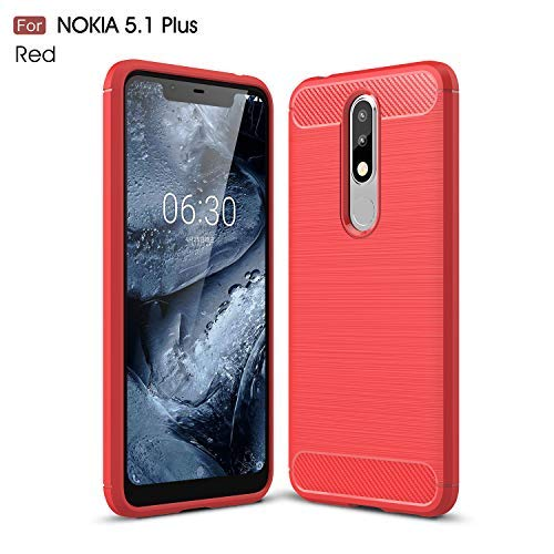 CruzerLite Nokia 5.1 Plus Custodia, Carbon Fiber Shock Absorption Slim TPU Cover for Nokia 5.1 Plus (Red)