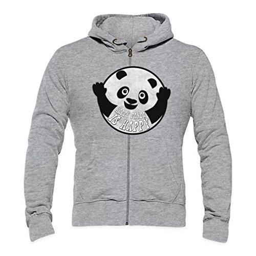 Happy Panda Is Happy Mens Zipper Hoodie XX-Large
