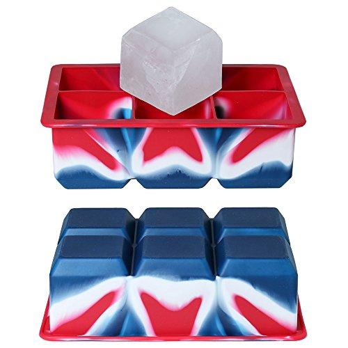 BPA-freie XXL Eiswürfelform - THE ROCK 5 x 5 cm große Eiswürfel - Lebensmittelechtes Silikon - Farbe Rot-Weiß-Blau