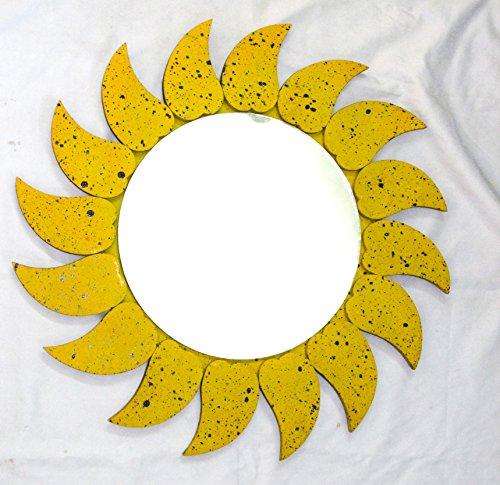 Hecho a Mano Antiguo de Madera Amarillo Negro Lunares Hojas Frontera Decorativa Montaje en Pared Espejo...
