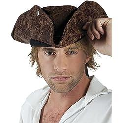 Sombrero de pirata efecto terciopelo, talla única.