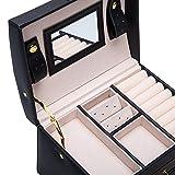 Asvert-3-Niveles-Caja-Joyero-Cuero-con-Espejo-Organizador-para-Bisuteras-Estuche-para-Joyas-Caja-Alcenamiento-Joyera-175x14x13cm-BlancoNegro