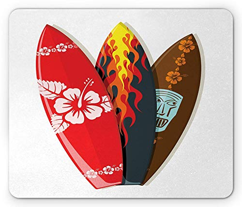 Drempad Gaming Mauspads, Surfboard Mouse Pad, Surf Boards Abstract Patterns Flame Tropics Tourism Lifestyle Sport Activity Art, Standard Size Rectangle Non-Slip Rubber Mousepad, Multicolor (Logitech Wireless Game-board)