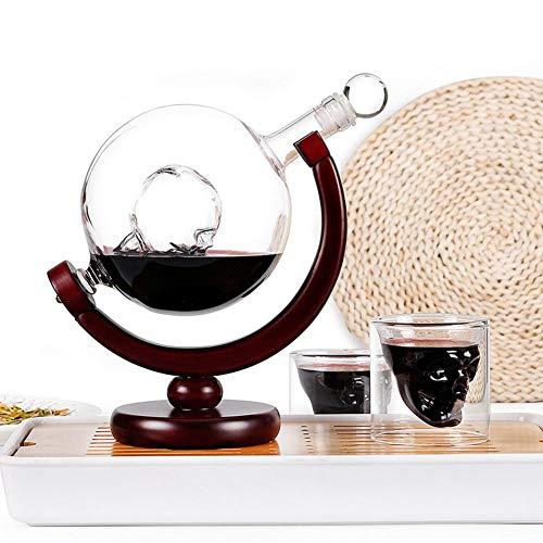 Sunflowerany Set de Decantador de Whisky, Decantador de Globos Grabados al Mundo de 800ML + Copa de Botella de Vino de 2 Copas, Conjunto de Artesanía de Vidrio de Esqueleto Decorativo