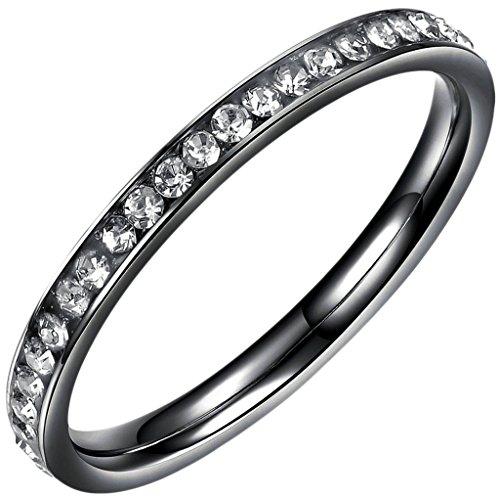 Gnzoe Schmuck, Edelstahl Hochzeit Ringe Fingerrings 1 Reihe mit Zirkonia Schwarz Breit 2MM Gr.49(15.6) Für (Kostüme Paare Girl)