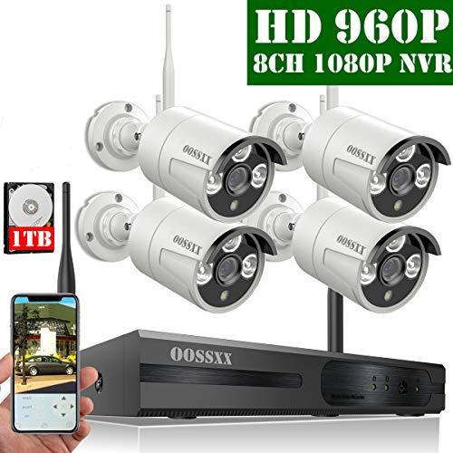 【2019 Neu】 Überwachungskamera Set System Videoüberwachung CCTV 1080P NVR Rekorder Überwachungskamera Outdoor Mit 4 960P Innen/Außen IR Nachtsicht Bewegungsmelde,Kamera Durch OOSSXX, 1TB HDD (Outdoor-wlan-kamera Foscam)