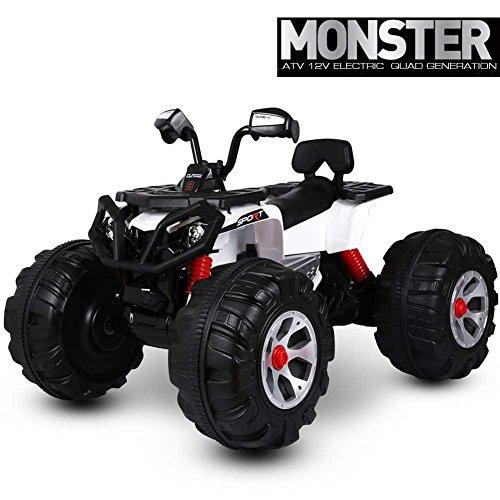 Bakaji quad elettrico per bambini atv monster 12v bianco con ruote larghe luci e suoni, acceleratore a pedale, velocità max 5-8 km/h