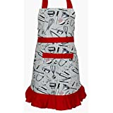 Kadambaby Girls printed apron with frills. Adjustable Ties for Versatile Fit, 100% Cotton (4-6 years). Girls apron, cooking apron for kids