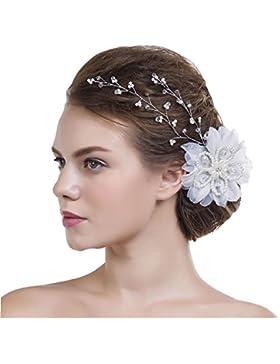 CLOCOLOR Hojas tocados de Cristales Perlas con flores para mujer accesorios de novia de boda joyería nupcial de...
