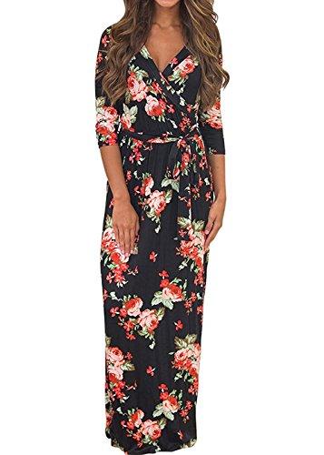 52cca2189aae Vestito Lungo Elegante Cerimonia Abito Maniche 3 4 Vestiti Stampa Floreale  Scollo a V Casual Mode Bohemian Abiti da Spiaggia Sera Cocktail Maxi Dress