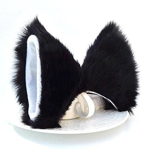 ONECHANCE Katze Fox Pelz Ohren Haarspange Headwear Anime Cosplay Halloween Kostüm (Schwarz weiß)