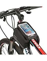 Rixow Bolsa Móvil para Tubo Superior de Cuadro de Bicicleta, Bolso Impermeable y Portátil, Negro.