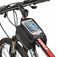 Cycling Frame Bag???Spalyer Bike Pouch Head Tube Bag Mountain Bike Bag Double Bag Pouch Holder for Cell Phone with Size below 5.5 Black
