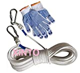 HITSAN INCORPORATION 50M+2pcs safety hook+glove,Anti-fire Outdoor safety belt mountaineering climbing cable harness life-saving
