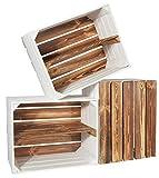 CHICCIE 3 Set Holzkiste Grete Geflammt Weiß - Langes Regal Obstkiste Dekokiste Weinkiste Ablage 50x40x30cm Gehobelt