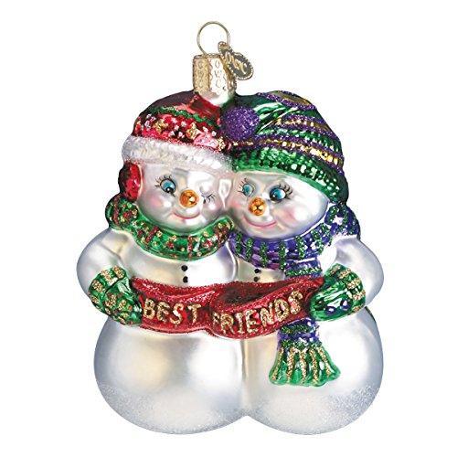 Old World Christbaumschmuck, Glas, geblasen, mit S-Haken und Geschenkbox, Schneemann-Kollektion Best Friends