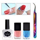 Born Pretty 6ml Peel Off Nail Latex Liquid Tape #2 with Colorful Curved Tweezer Nail Art Tool Set