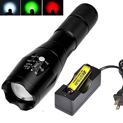 BESTSUN taktische Taschenlampe Ultra Bright T6 LED 3 Farben Objektiv Rot Grün Weiß Licht Handheld Taschenlampe mit Magnetfuß und Akku, Zoomable, wasserdicht, zum Arbeiten, Jagd