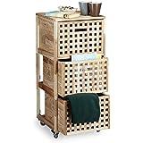 Relaxdays Rollcontainer Holz mit 3 Fächern Walnuss HBT: ca. 91,5 x 40,4 x 40,4 cm Utensilienwagen Rollregal Wäschebox Holz Schrank rollbarer Schubladenschrank, natur
