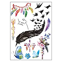 BESTPICKS Large Waterproof Fashion Temporary Tattoo Sticker - BOHO CHIC, KISS, BUTTERFLY, FEATHER, FLOWER - 14.5 X 21 cm Sheet