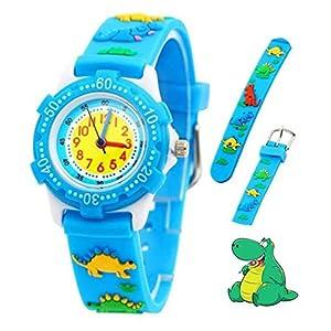 Kinder Analog Armbanduhr, Tägliche Wasserdicht Mädchen Jungen Zeit Lehrer Uhr Kinderspielzeug mit 3D Karton Silikonband für Kleine Kleinkinder Geburtstag/Xmas RSVOM