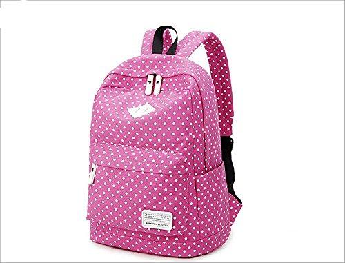 Xiuxiandianju 20-35L Canvas-Schulter-Taschen für Mädchen und jungen, Freizeit Reisen Polka Dot Rucksack rose red