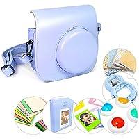 Tuff-Luv Instax Mini 8 Faux cuir ajustable caméra affaire (Inc épaule) et 7 en 1 accessoires Bundle - Bleu