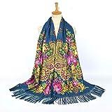 Y-WEIFENG Foulard imprimé féminin avec Pompon Longue écharpe Voyage Ethnique Foulard Femme Châle Écharpe Écharpe (Couleur : Ha Qing)