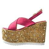Angkorly - damen Schuhe Sandalen Mule - Plateauschuhe - Kork - fantasy - golden Keilabsatz high heel 12.5 CM - Fushia - 4