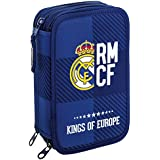 Real Madrid - Plumier triple, 13 x 21 x 6 cm, color azul (Safta 411724057)