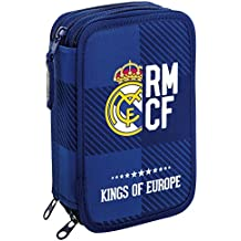 Real Madrid - Plumier triple, 13 x 21 x 6 cm, color azul (Safta 411724057)