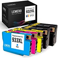 استبدال خرطوشة حبر متوافقة من LEMERO لجهاز HP 932 933 XL 932XL 933XL لـ OfficeJet 7612 7610 7110 6700 6600 6100 (2 أسود، 1 سماوي، 1 أرجواني، 1 أصفر، 5 حزم)