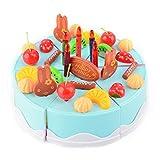 DAN DISCOUNTS Kuchen Schneiden Spielzeug Set,75 Stück Schneidspielzeug für Kinder, Küchenspielzeug für Kinderküche-Blau