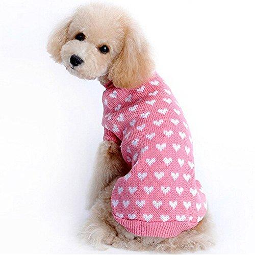 ducomi® Hearts–Pullover für Hund und Welpen in Weich und warm Garn mit Druck Herz, rosa