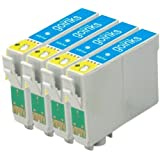 4 Compatible Light Cyan Printer Ink Cartridges to replace T0485 for use in Epson Stylus Photo R200, R220, R300, R300M, R320, R330, R340, R350, RX300, RX320 RX500, RX600, RX620, RX640