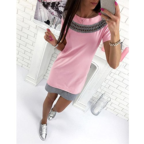 LHWY Damen Solid Hollow Lace o Neck Short Sleeve Mini Dress Rosa