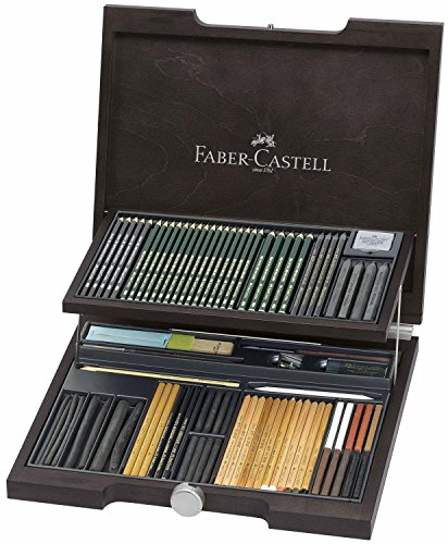 Faber-Castell 112971 – Estuche de madera Pitt monochrome con 86 piezas selección de ecolápices, tizas, carboncillos y grafitos con accesorios