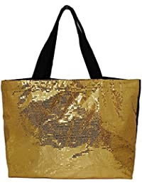 Gold : Beautiful Sequin X-large Reusable Shopping Market Tote Bag