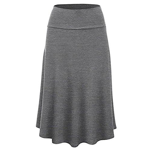 Beonzale Sommer Damen Röcke Frauen Solide Flare Saum Hohe Taille Midi Rock Plus Size Uniform Faltenrock