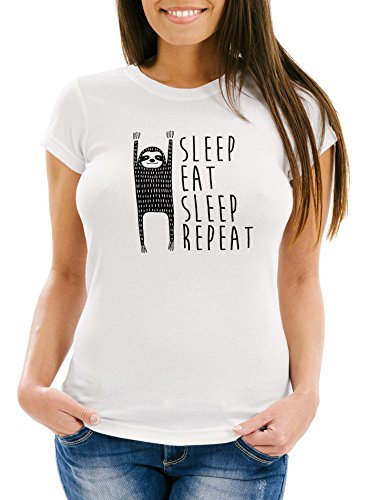 """Damen T-Shirt mit Spruch """"Sleep Eat Sleep Repeat"""" Faultier Fun-Shirt aus reiner Baumwolle Moonworks® Weiß"""