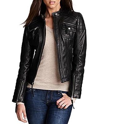 Royal Outfit Genuine Lambskin Real Leather Slim Fit Biker Jacket of Women's - Black